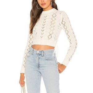 Revolve Lovers + Friends Lace Up Crop in Ivory